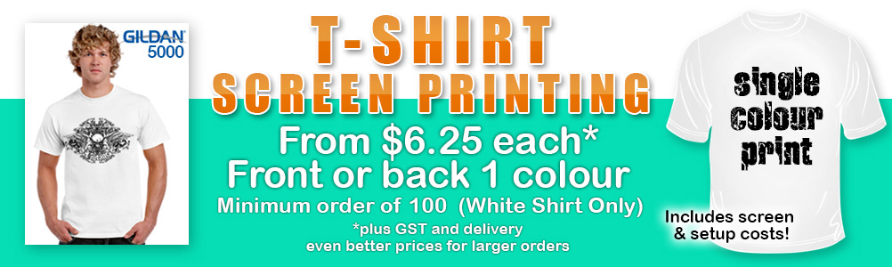 100 white t-shirts screen printed $6.25 ea