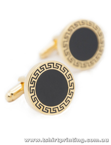 Classic Black and Gold Design Cuff Links