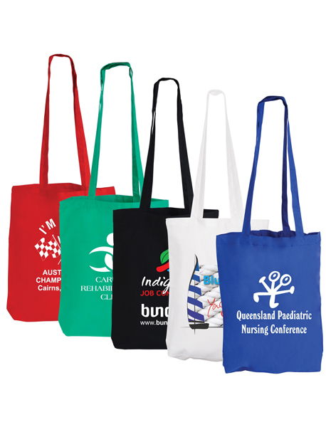 Coloured Cotton Double Long Handle Conference Bags