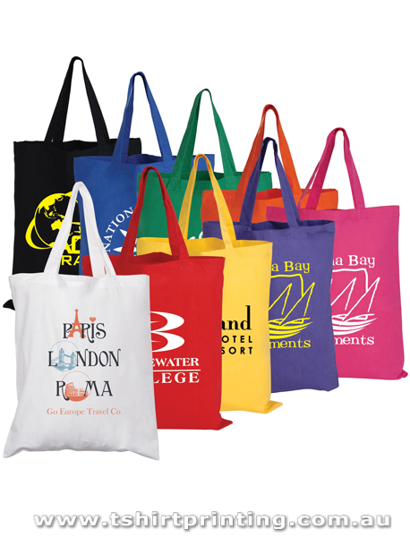 Coloured Cotton Double Short Handle Tote Bags