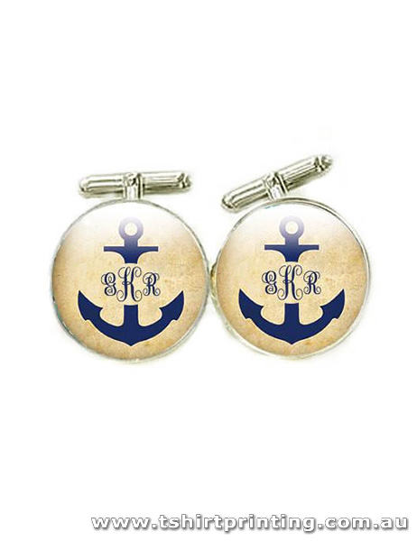 Custom Initial Anchor Design Cuff Links