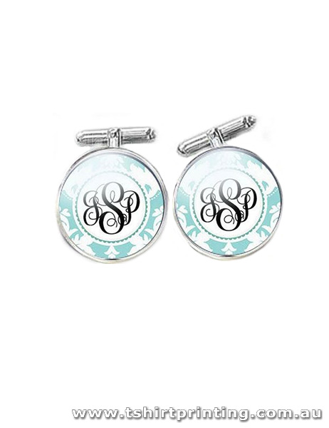 Custom Initial Floral - Light Blue Cuff Links