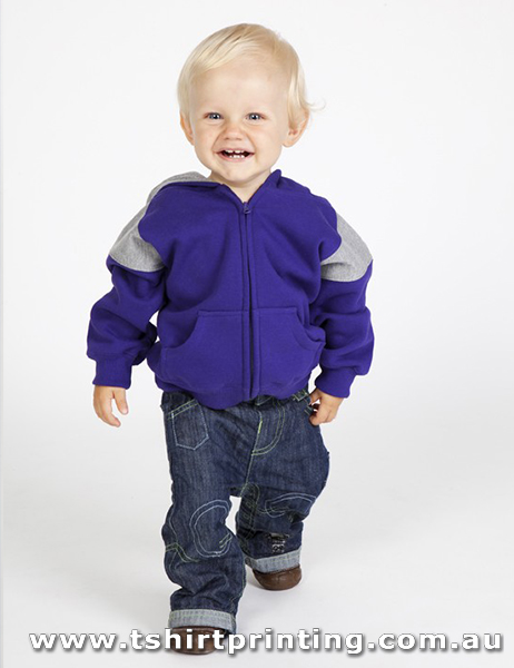 H35K Ramo Kids Shoulder Contrast Panel Hoodie with Zipper