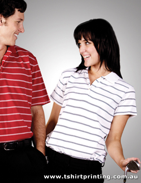 P91W Ladies Striped Cotton Pique Polo