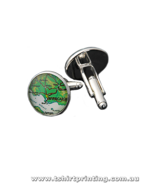 Stainless Green Map Cuff Links