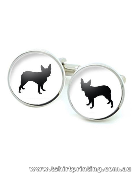 Stainless Round Pet Cuff Links