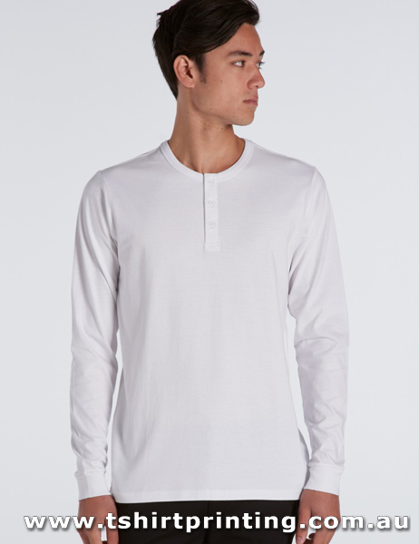 T40LM ASColour Henley Long Sleeve Tshirt