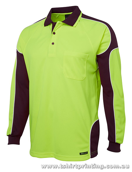 W05LP Johnny Bobbin Hi Vis L/S Arm Panel Polo