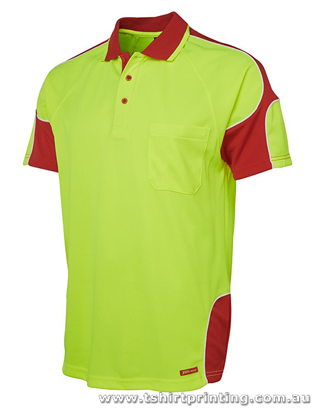 W05P Johnny Bobbin Hi Vis S/S Arm Panel Polo