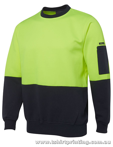 W06F Johnny Bobbin Hi Vis Fleecy Crew Sweatshirt