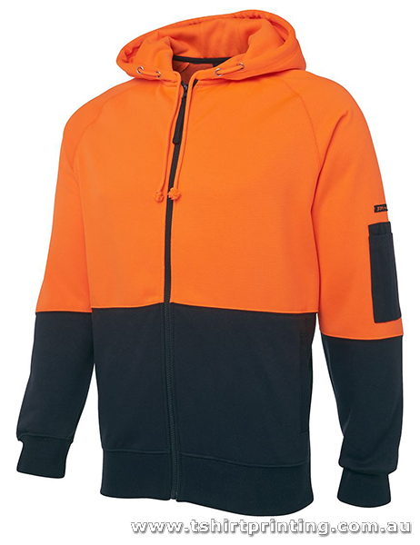 W07H Johnny Bobbin Hi Vis Full Zip Fleecy Hoodie