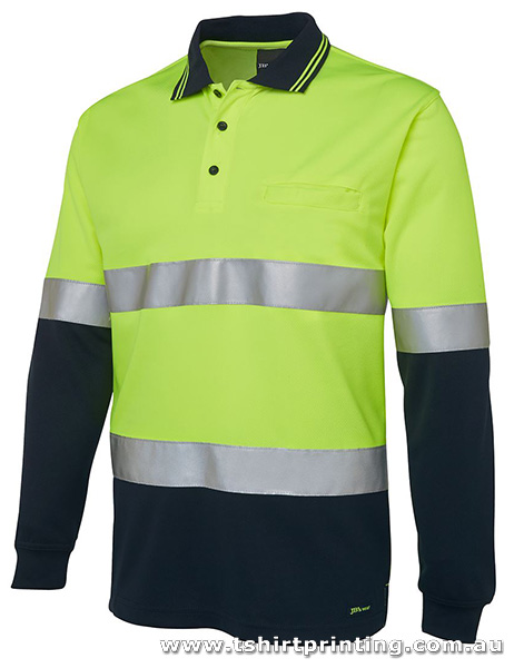 W09LP Johnny Bobbin Hi Vis L/S (D+N) Traditional Polo