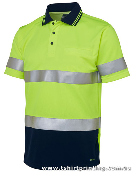 W09P Johnny Bobbin Hi Vis (D+N) S/S Traditional Polo