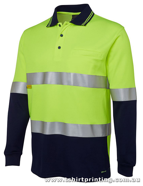 W13P Johnny Bobbin Hi Vis L/S (D+N) Cotton Back Polo