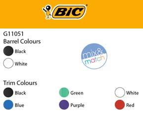 Bic Biro Colour chart
